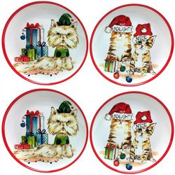 Brighten the Season 4-pc Happy Pawlidays Cat Appetizer Plate