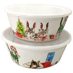 Brighten the Season 2-pc. Happy Pawlidays Cat Nested Bowl