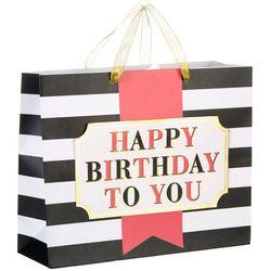 CR Gibson Pink Stripe Happy Birthday Gift Bag