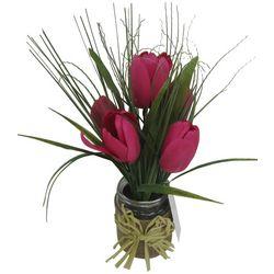 Coastal Home Artificial Tulip In Glass Jar Arrangement