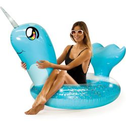 Pool Candy Glitter Narwhal Pool Float
