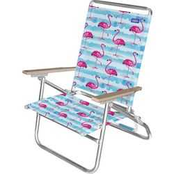 JGR Copa 3-Position Flamingo Stripe Beach Chair