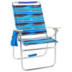 JGR Copa Big Tycoon 4-Position Blue Stripe Beach Chair