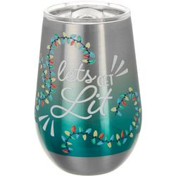 Brighten the Season 12 oz. Stainless Steel Lit Wine Glass