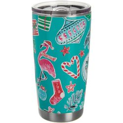Brighten the Season 20 oz Stainless Flamingo Present Tumbler