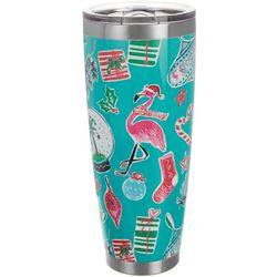 Brighten the Season 30 oz Stainless Flamingo Present Tumbler
