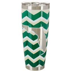 Tropix 30 oz. Stainless Steel Green & Gold Chevron Tumbler