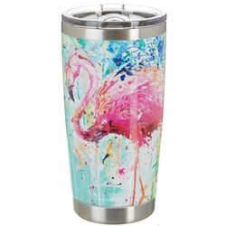 Tropix 20 oz. Stainless Steel Splash Flamingo Tumbler