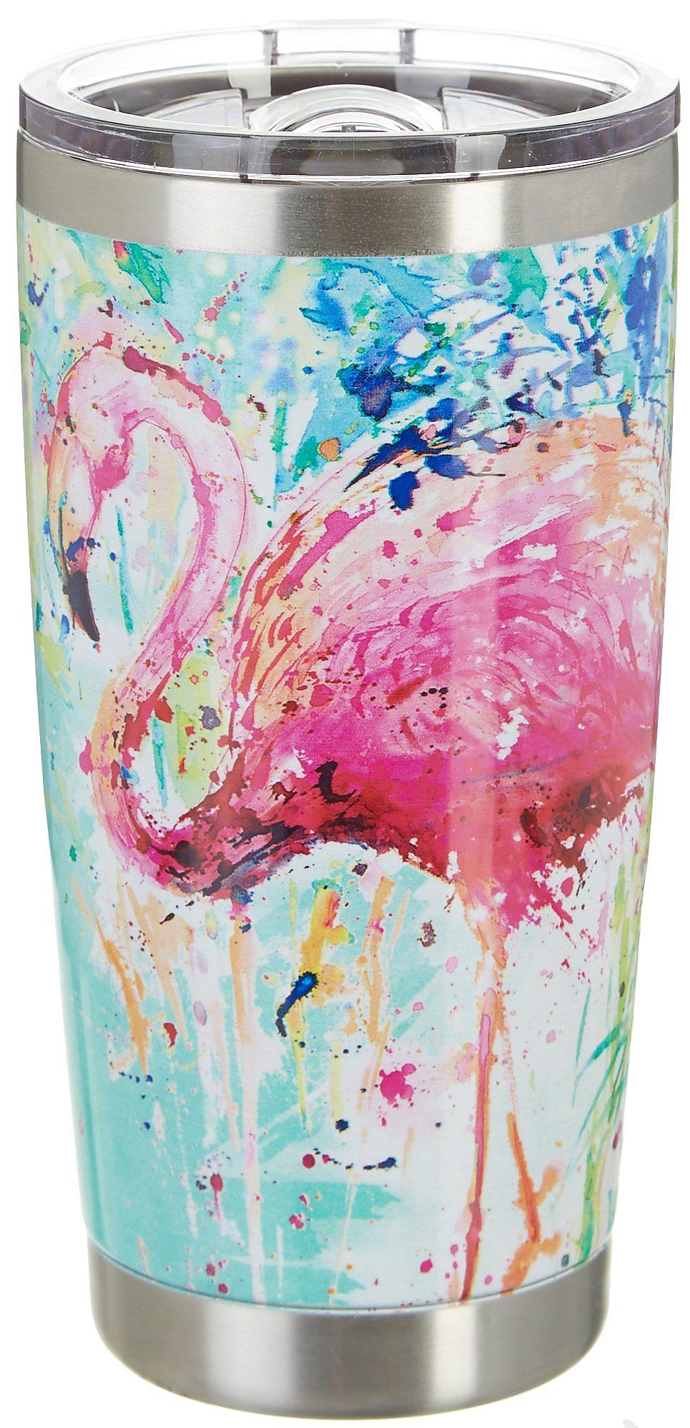 Pink//blue Stainless Steel Sketch Flamingo Tumbler 20 oz Reel Legends 20 oz