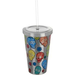 Tropix 17 oz. Stainless Steel Skulls Tumbler With Straw