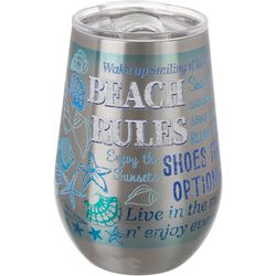 Tropix 12 oz. Stainless Steel Beach Rules Wine Tumbler