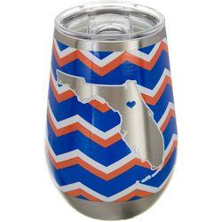Tropix 12 oz. Stainless Steel Blue & Orange Chevron Wine Cup