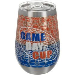 Tropix 12 oz Stainless Steel Orange & Blue Game Day Tumbler