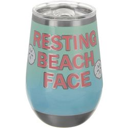 Tropix 12 oz Stainless Steel Resting Beach Face Wine Tumbler