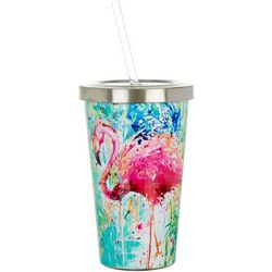 Tropix 17 oz Stainless Steel Splash Flamingo Tumbler & Straw