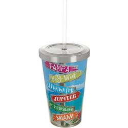 Tropix 17 oz Stainless Steel Florida City Tumbler & Straw