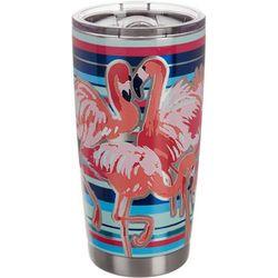 Tropix 20 oz. Stainless Steel Flamingo Stripe Travel Tumbler