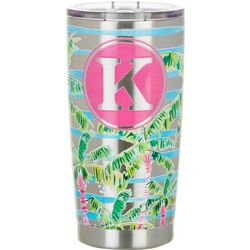 Tropix 20 oz. Stainless Steel Palm Monogram K Tumbler