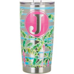 Tropix 20 oz. Stainless Steel Palm Monogram J Travel Tumbler