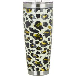 Tropix 30 oz. Stainless Steel Brown Cheetah Travel Tumbler