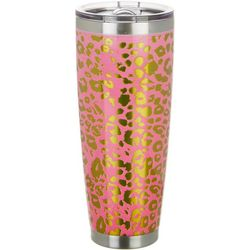 Tropix 30 oz. Stainless Steel Coral Cheetah Travel Tumbler