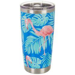 Tropix 20 oz. Stainless Steel Flamingo Palm Travel Tumbler