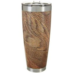 Tropix 30 oz. Stainless Steel Brown Woodgrain Travel Tumbler