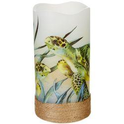 Deco Flair Sea Turtle Design LED Flameless Pillar Candle