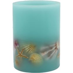 Coastal Home 3x4 Blue Shells LED Pillar Candle