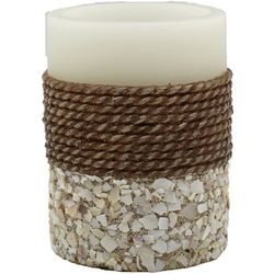 Coastal Home 3x4 Rope Shells LED Pillar Candle