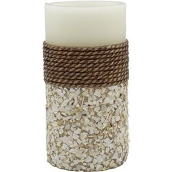 Coastal Home 3'' x 6'' Rope Shells LED Pillar Candle