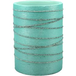 Coastal Home 3x4 Blue Glitter Swirl LED Candle