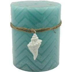 Coastal Home 3x4 Blue Chevron Conch LED Candle