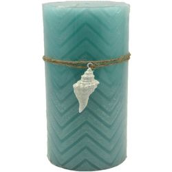 Coastal Home 3x6 Blue Chevron Conch LED Candle