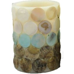 Coastal Home 3x4 Capiz Shell Dots LED Candle