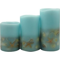 Coastal Home 3-pc. Blue Sea Shell LED Pillar Candle Set