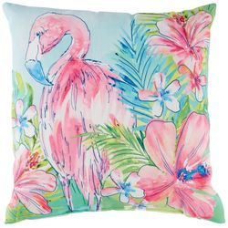 Tropix Tropical Bloom Flamingo Decorative Outdoor Pillow