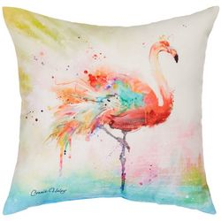 Manual Woodworkers Colorful Splash Flamingo Outdoor Pillow
