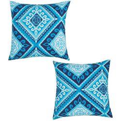 TerraSol 2-pk. Indigo Tile Outdoor Decorative Pillow Set