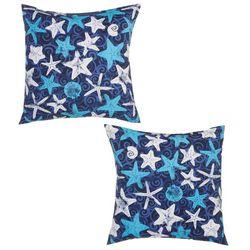 TerraSol 2-pk. Starfish Print Outdoor Decorative Pillow Set