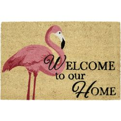 Tropix Flamingo Welcome Coir Outdoor Mat