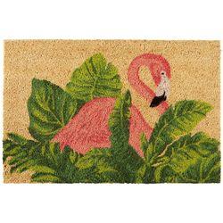 Nourison 18'' x 28'' Flamingo With Leaves Coir Mat