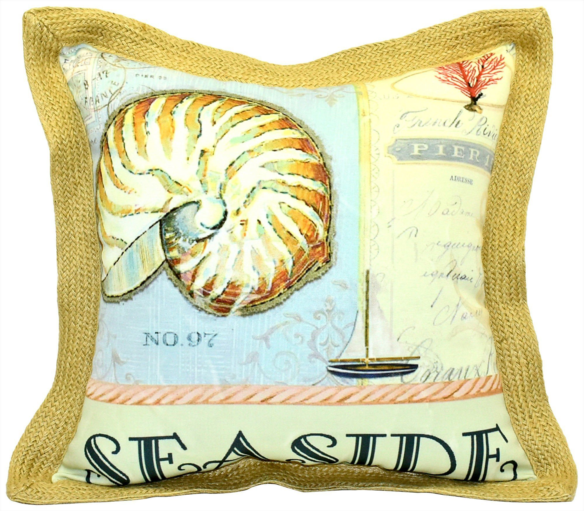 Newport Seaside Outdoor Decorative Pillow One Size Yellow Blue