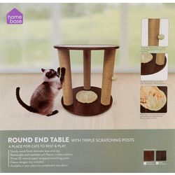 Precious Tails Round Cat Scratching Post End Table