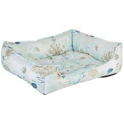 Elise & James Home Aqua Shells Print Cuddler Dog Bed