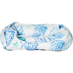 Coastal Home Blue Mood Shells Medium Dog Cuddler Bed