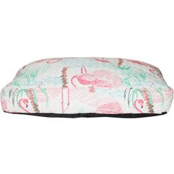 Red Pineapple Watercolor Flamingo Flat Dog Bed