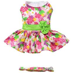 Doggie Design Hibiscus Print Dog Dress