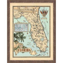 Palm Island Home Vintage Florida Map Framed Art