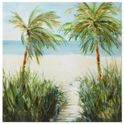 Palm Island Home Sandy Beachwalk Canvas Wall Art